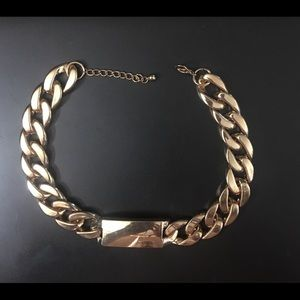 LARGE GOLD TONE CHAIN STYLE CHOKER NECKLACE